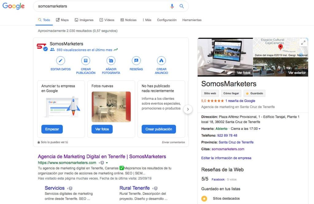 Google SERP SomosMarketers