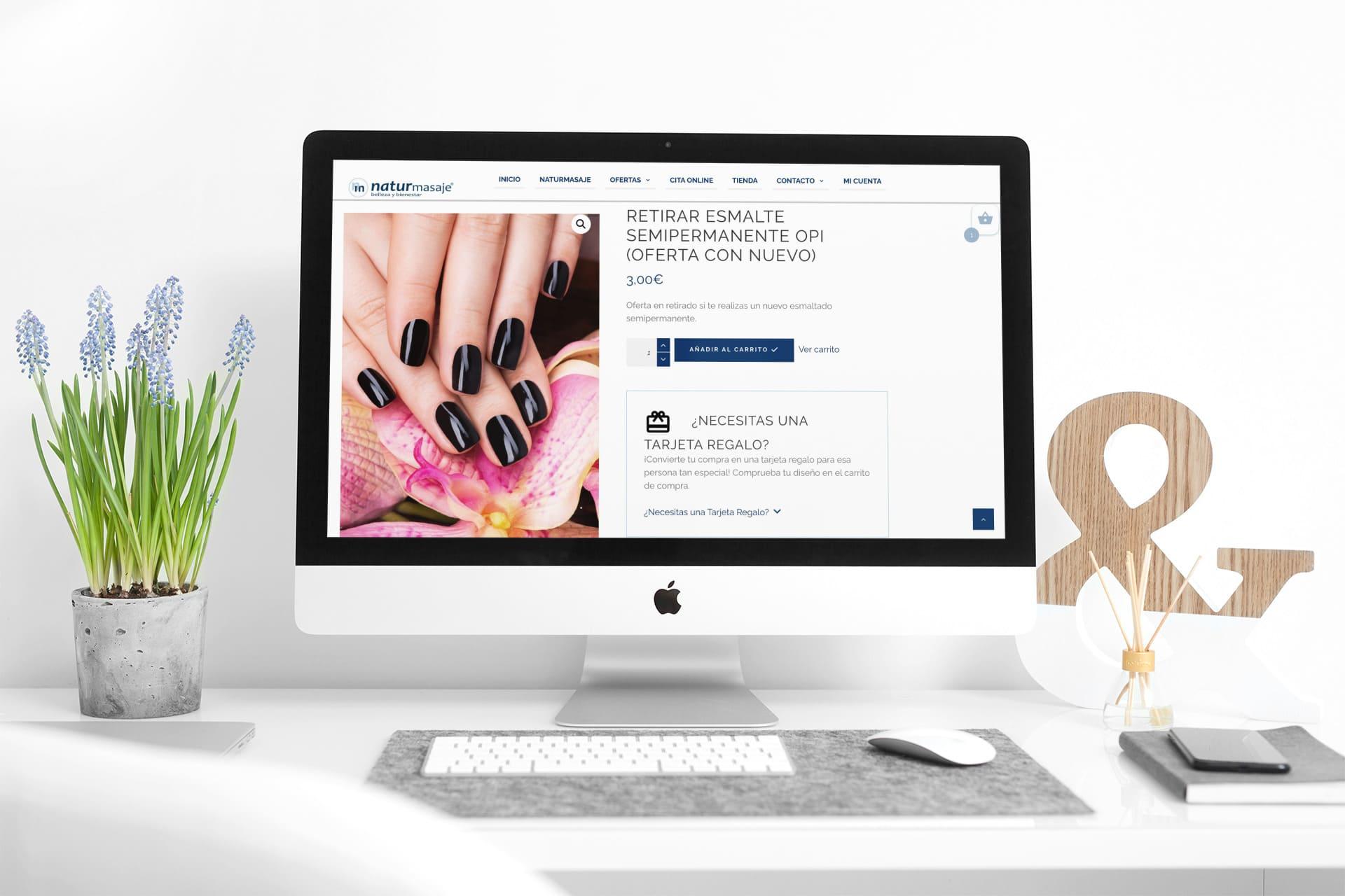 diseño tienda online naturmasaje ficha producto